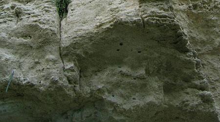 Agarras cavadas criando uma saída mais fácil para a via
